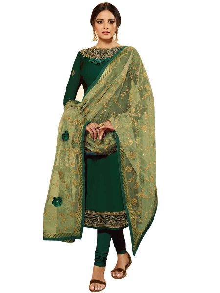 Hunter Green Faux Georgette Embroidered Party Churidar Pant Kameez