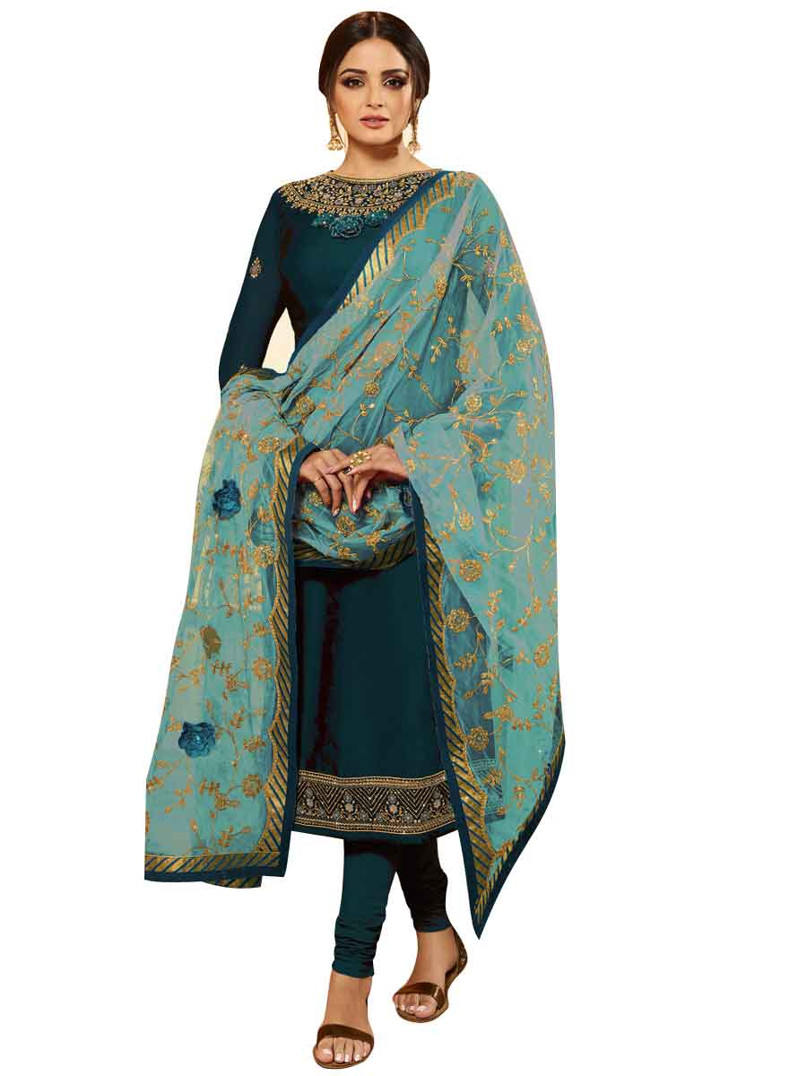 Teal Green Faux Georgette Embroidered Party Churidar Pant Kameez