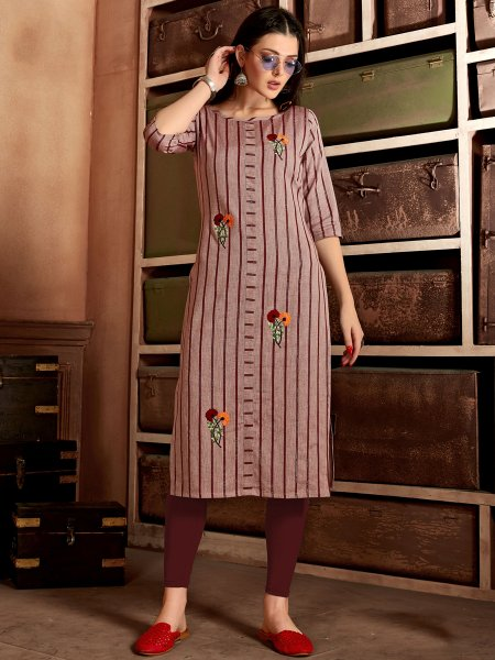 Light Brown Cotton Embroidered Party Kurti