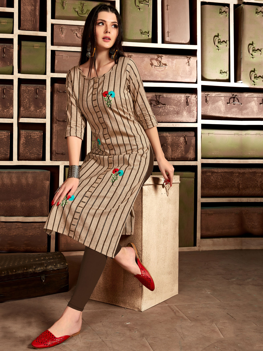 Copper Brown Cotton Embroidered Party Kurti