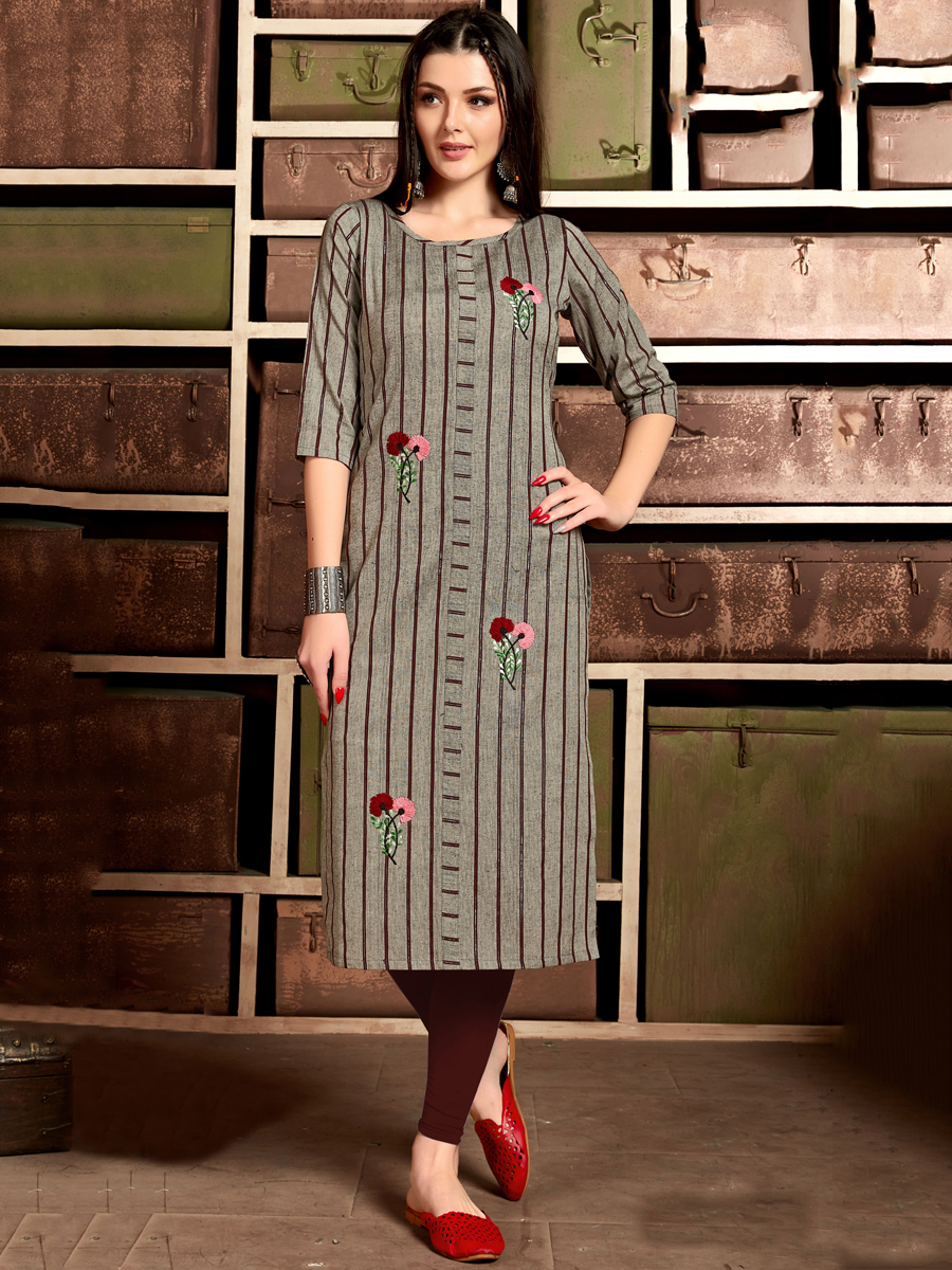 Dark Gray Cotton Embroidered Party Kurti