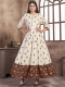 Off-White Rayon and Satin Printed Casual Kurti