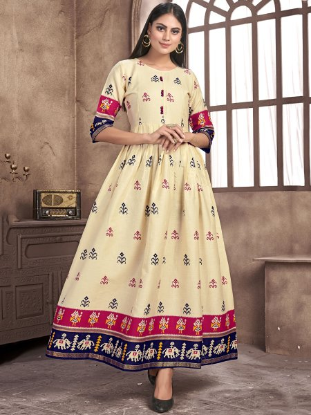 Cream Yellow Satin Printed Casual Kurti