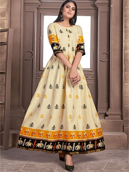 Light Buff Yellow Satin Printed Casual Kurti