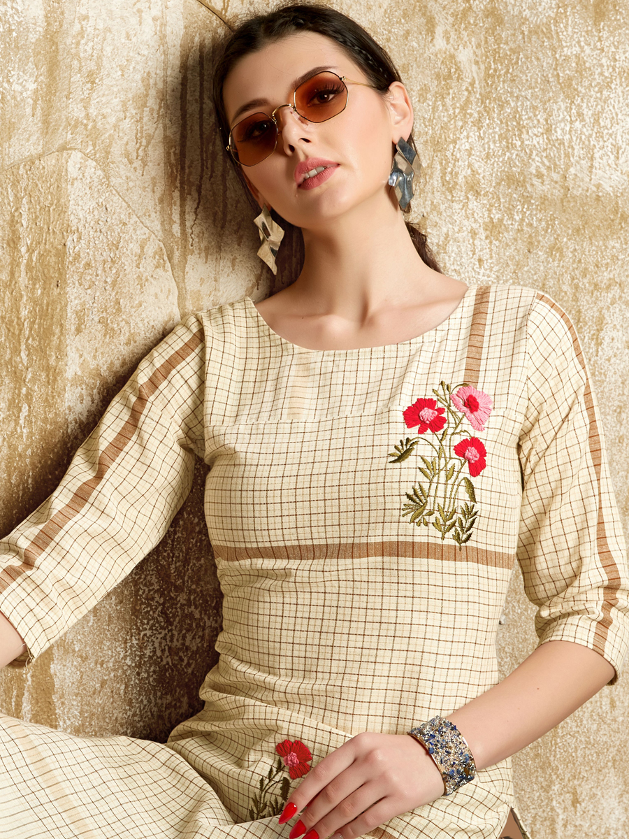 Cream Yellow Cotton Embroidered Party Kurti