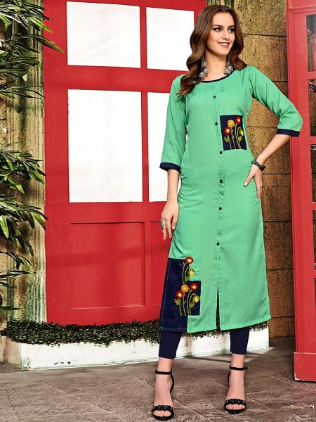Emerald Green Cotton Embroidered Party Kurti