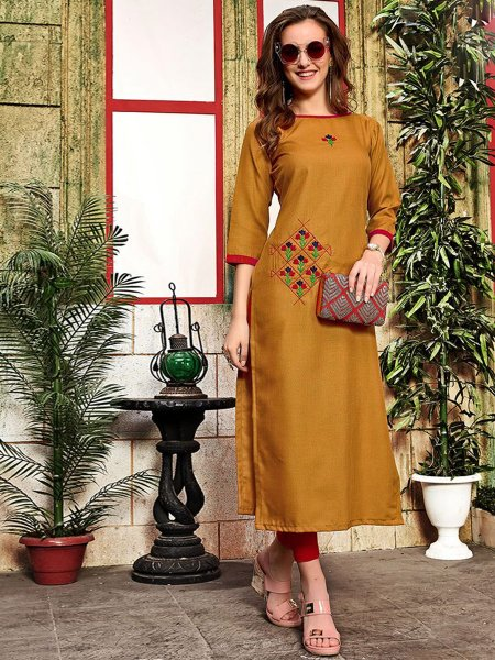 Dark Goldenrod Yellow Cotton Embroidered Party Kurti