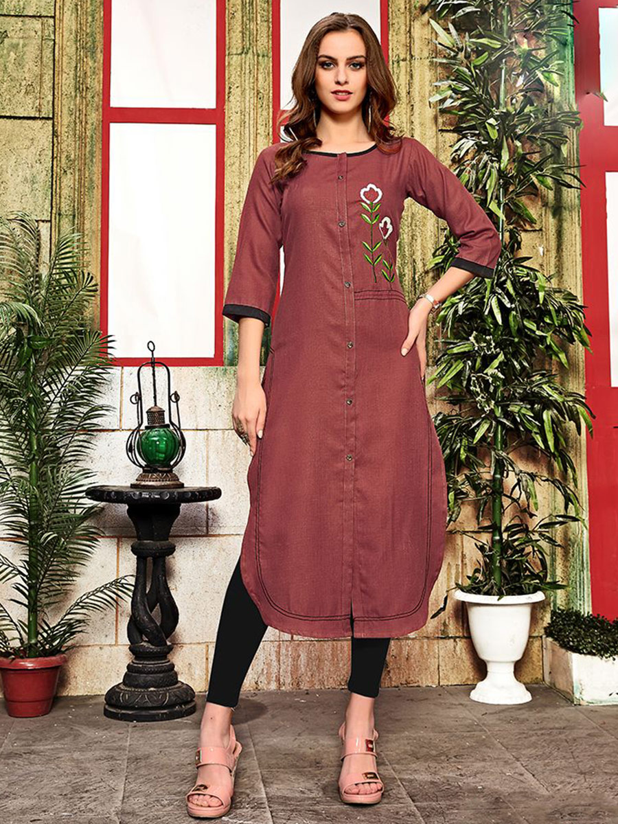 Chestnut Red Cotton Embroidered Party Kurti