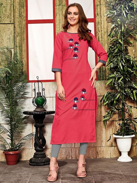 Dark Pink Cotton Embroidered Party Kurti