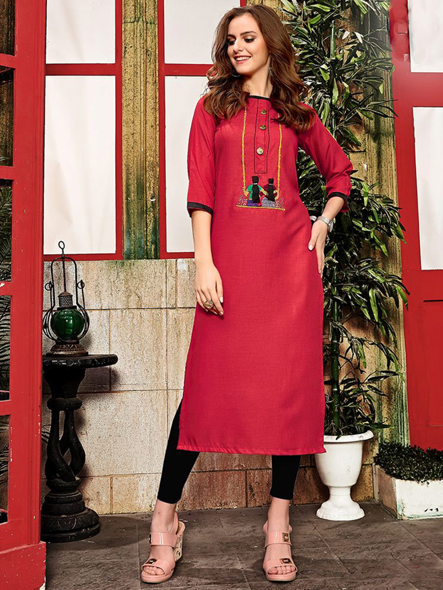 Venetian Red Cotton Embroidered Party Kurti