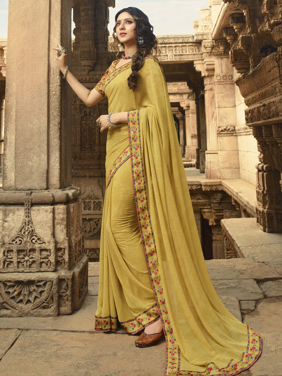 Light Brown Faux Georgette Printed Casual Saree