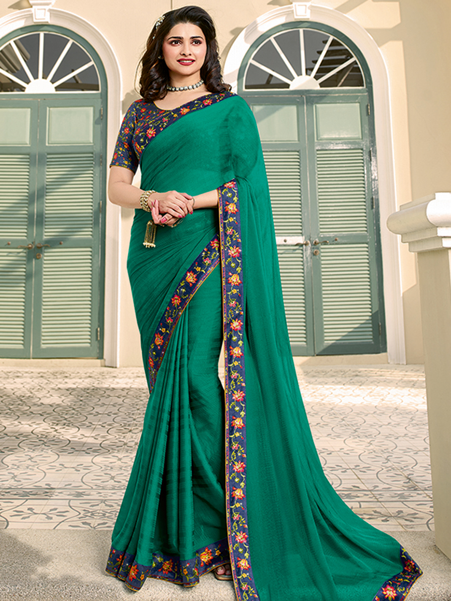 Pine Green Silk Printed Casual Saree