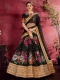 Black Art Silk Embroidered Wedding Lehenga Choli