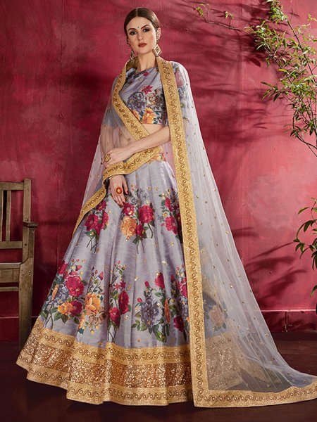 Grey Art Silk Embroidered Wedding Lehenga Choli