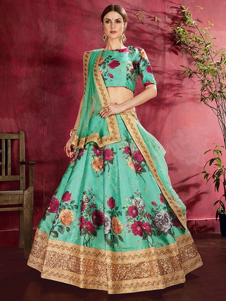 Sea Green Art Silk Embroidered Wedding Lehenga Choli