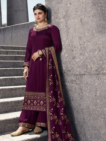 Byzantium Purple Satin Georgette Embroidered Party Palazzo Pant Kameez