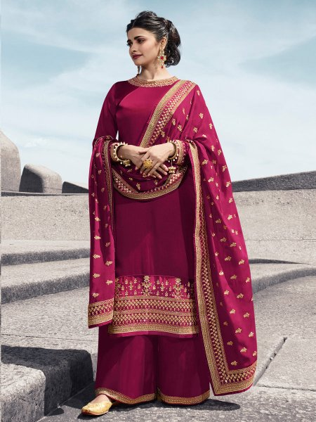 Dark Pink Satin Georgette Embroidered Party Palazzo Pant Kameez