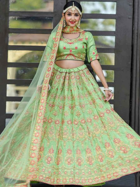 Light Green Silk Embroidered Wedding Lehenga Choli
