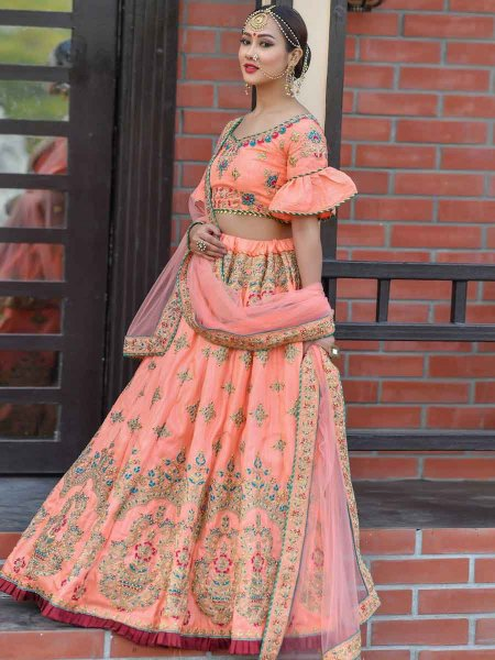 Coral Orange Silk Embroidered Wedding Lehenga Choli