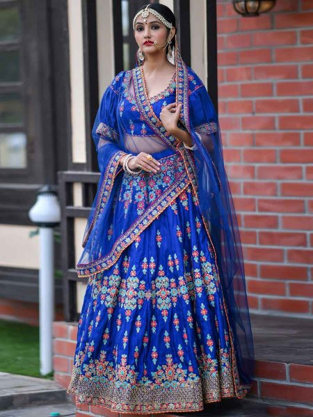 Royal Blue Silk Embroidered Wedding Lehenga Choli