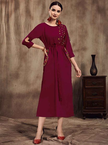 Maroon Muslin Embroidered Party Kurti