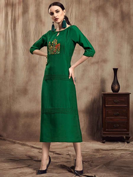 Hunter Green Muslin Embroidered Party Kurti