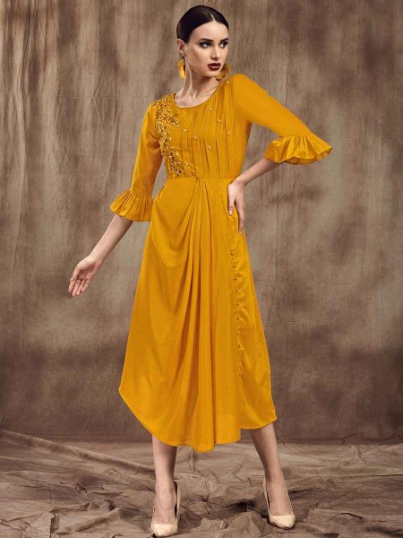Mustrard Yellow Muslin Embroidered Party Kurti