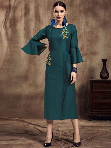 Dark Pine Green Muslin Embroidered Party Kurti