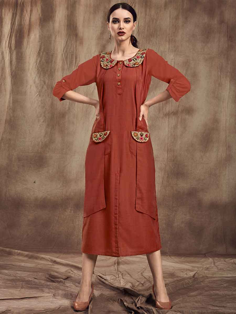Rust Orange Muslin Embroidered Party Kurti