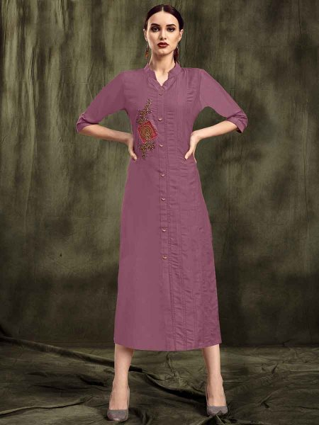 Dark Thulian Pink Muslin Embroidered Party Kurti