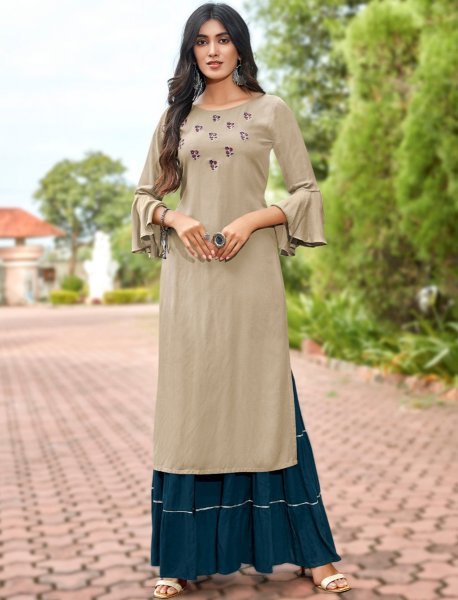 Khaki Brown Rayon Embroidered Party Kurti