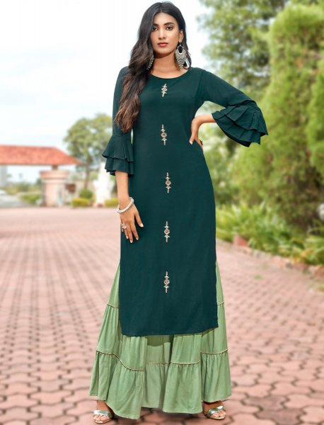 Pine Green Rayon Embroidered Party Kurti