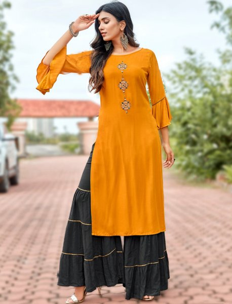 Amber Orange Rayon Embroidered Party Kurti
