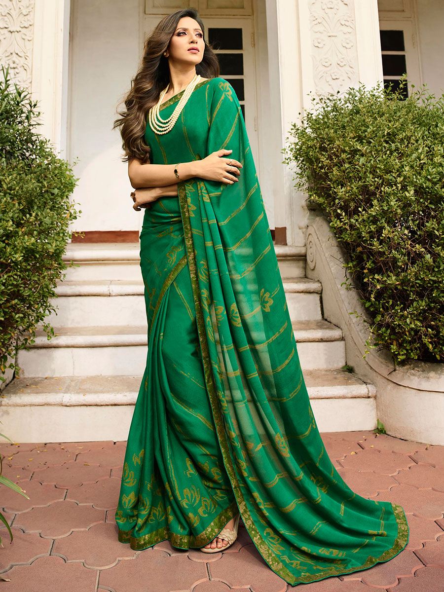 Shamrock Green Rangoli Silk Printed Casual Saree
