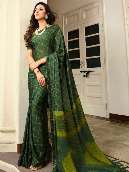 Hunter Green Rangoli Silk Printed Casual Saree