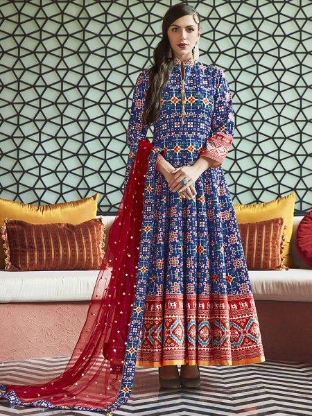 Dark Blue Silk Printed Party Lawn Kameez