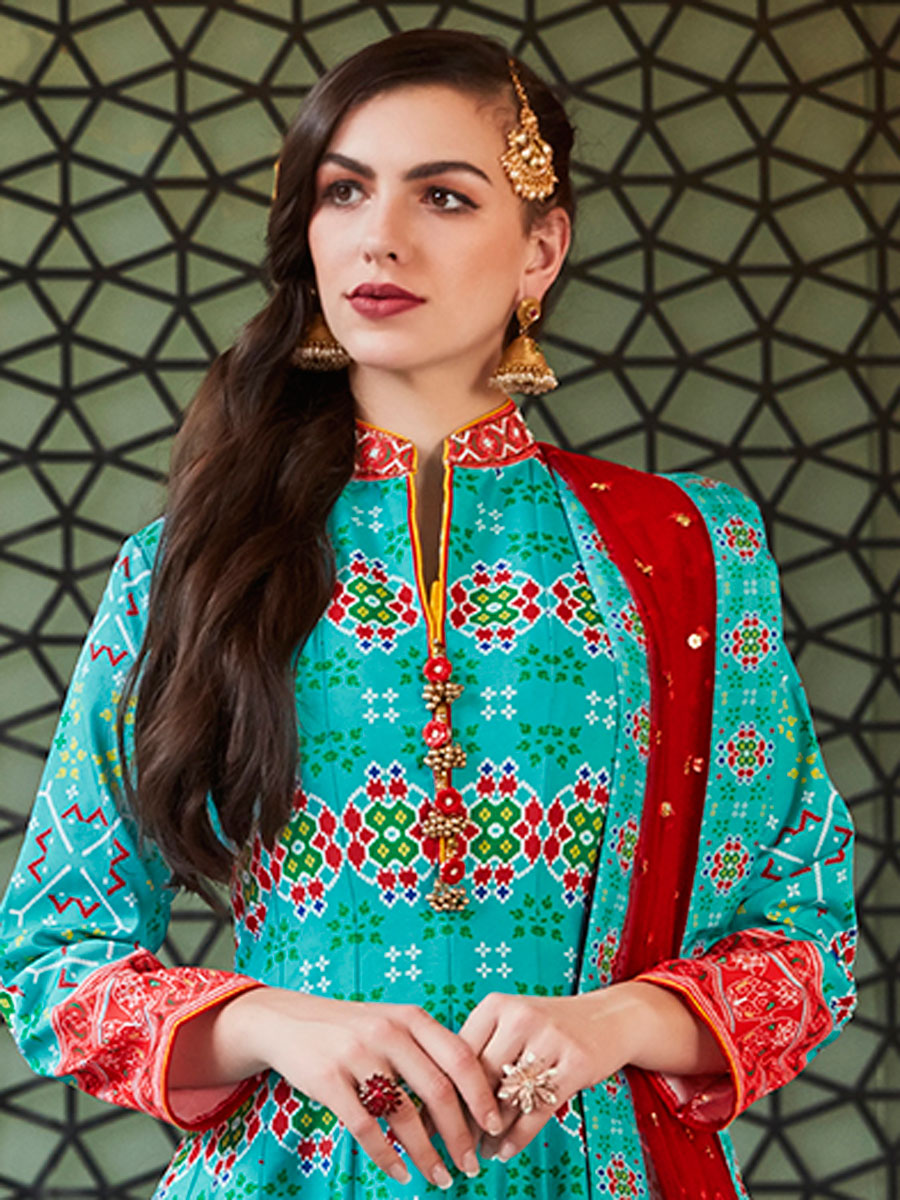 Robin-Egg Blue Silk Printed Party Lawn Kameez