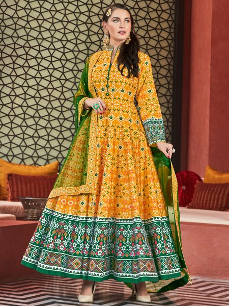 Golden Yellow Silk Printed Party Lawn Kameez