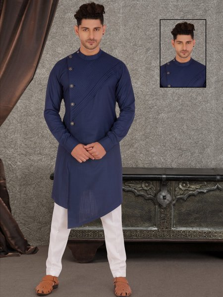 Navy Blue Cotton Plain Casual Kurta