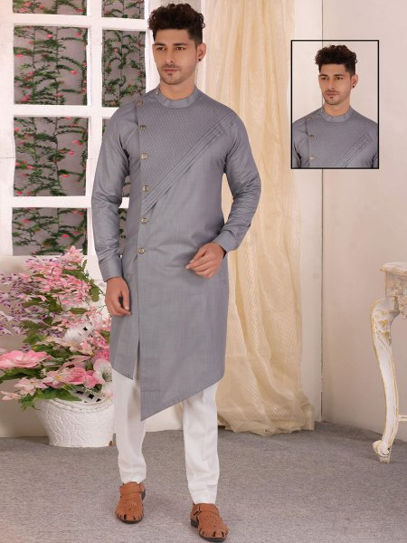 Gray Cotton Plain Casual Kurta