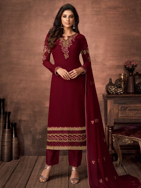 Maroon Faux Georgette Embroidered Festival Pant Kameez