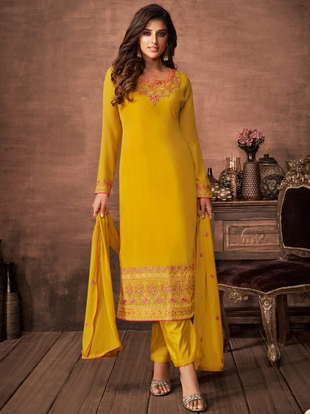 Gamboge Yellow Faux Georgette Embroidered Festival Pant Kameez