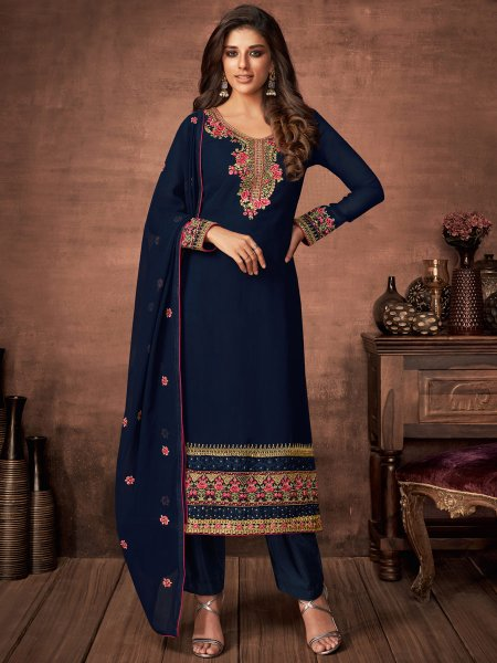 Navy Blue Faux Georgette Embroidered Festival Pant Kameez