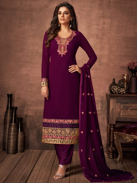 Byzantium Purple Faux Georgette Embroidered Festival Pant Kameez