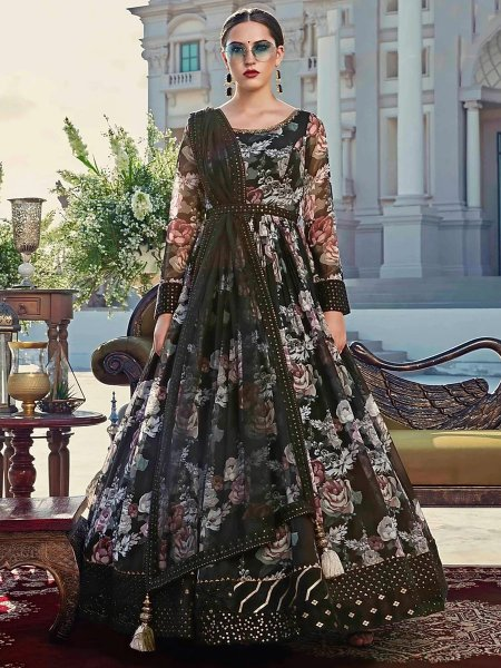 Black Cotton Embroidered Party Lawn Kameez