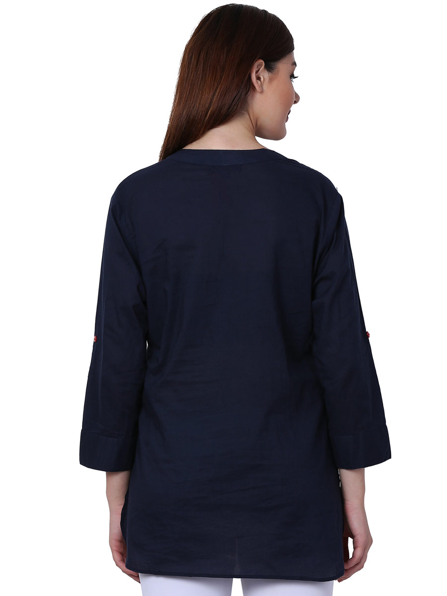 Navy Blue Cotton Embroidered Party Top