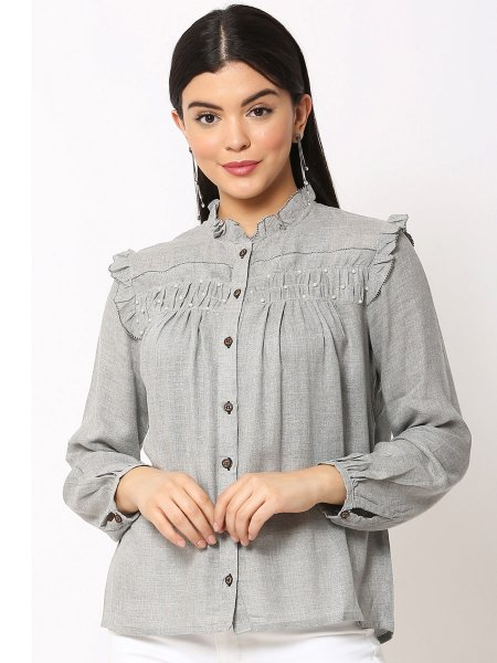 Gray Cotton Plain Party Top