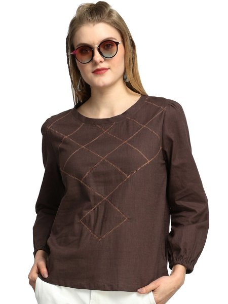 Bole Brown Cotton Embroidered Party Top