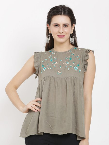Olive Green Rayon Embroidered Party Top