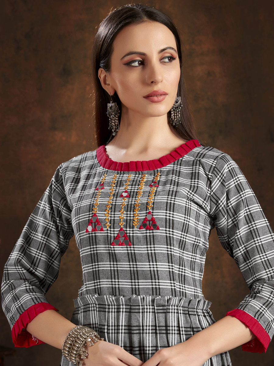 Gray Cotton Embroidered Party Kurti